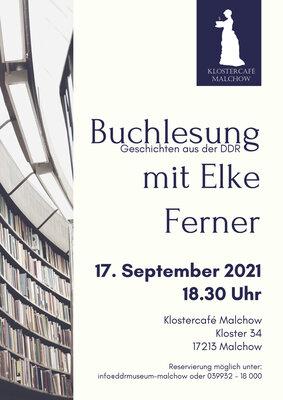 Plakat: Buchesung mit Elke Ferner