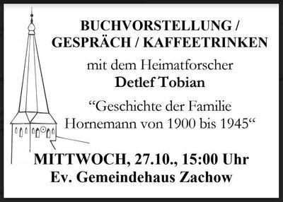 Veranstaltungshinweis von Pfarrer Zastrow