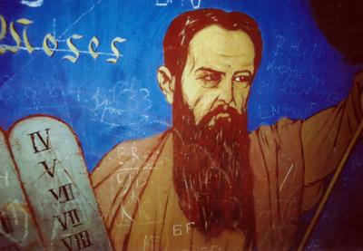 Ernst Liebermann, Dostojewski als Moses, Deckenmalerei in einer thüringischen Dorfkirche