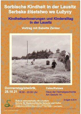 Flyer zum Vortrag für sorbische Kindheitserinnerungen.