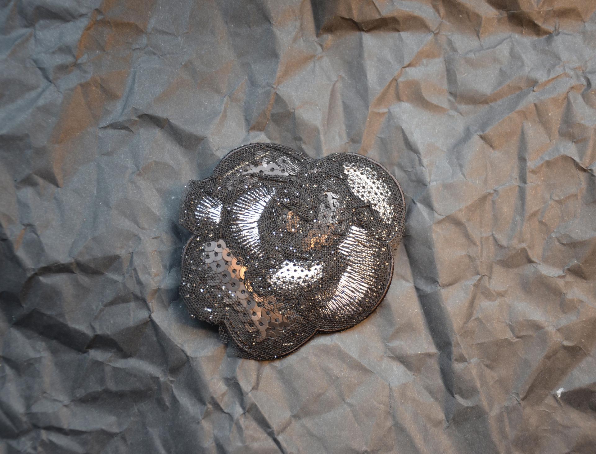 Applikation Blume silber