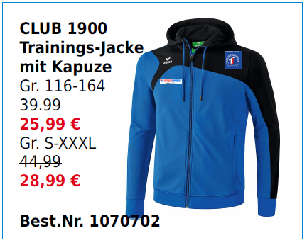 Club 1900 Trainingsjacke mit Kapuze