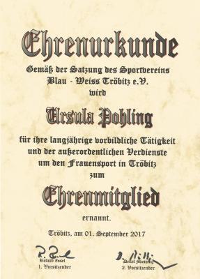 Fotoalbum Ursula Pohling zum Ehrenmitglied ernannt