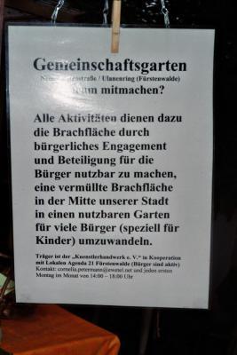 Fotoalbum BNE-Aktions- und Mitmachtag im Gemeinschaftsgarten der Lokale Agenda 21 in Fürstenwalde;  20.08.2014