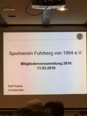 Fotoalbum Jahreshauptversammlung 2016