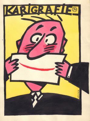 Frank Leuchte - Plakatentwurf für die Karigrafie 1989/90 (Sammlung Museen für Humor und Satire)
