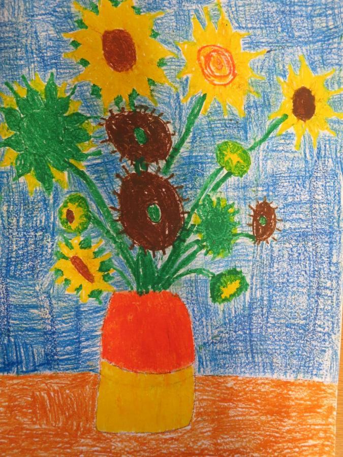 Grundschule Fladungen Zwölf Sonnenblumen Nach Vincent Van Gogh