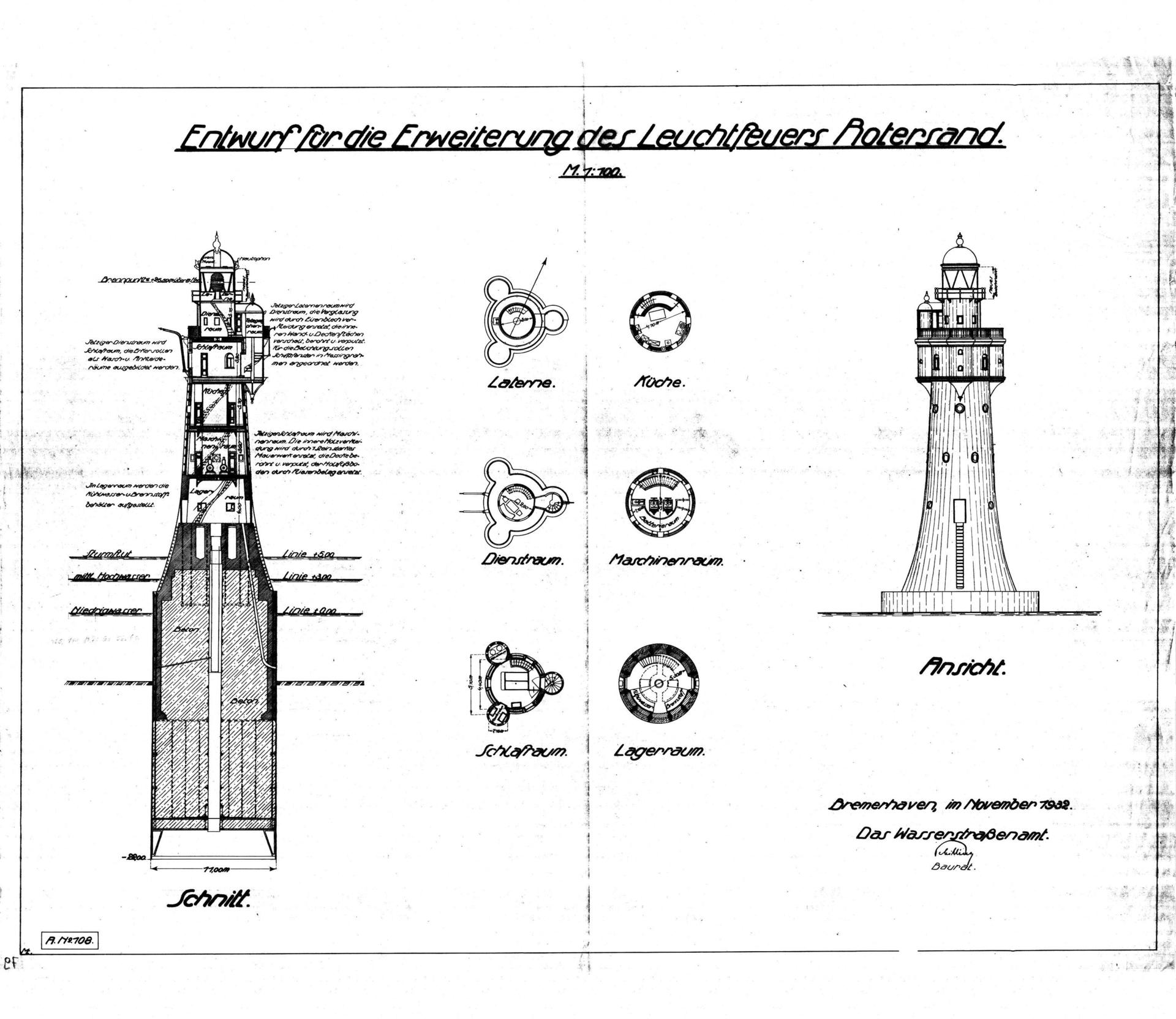 Foto der Galerie: Zeichnungen 1900 - 1980 Leuchtturm Roter Sand