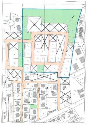 X - Verkauft  Bereich des B-Plans 39 ist blau umrahmt.