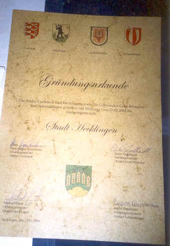 Gründungsurkunde der Stadt Hecklingen als Zusammenschluss von Hecklingen, Cochstedt, Groß Börnecke und Schneidlingen