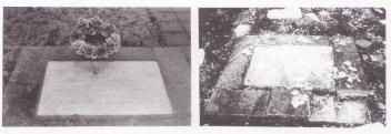 Französische Erinnerungstafel zur Einweihung des Mahnmals 1967 und nach der Zerstörung.
