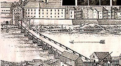Dieser Merian-Stich zeigt den Blick von Simbach über die alte Holzbrücke auf Braunau um das Jahr 1700.