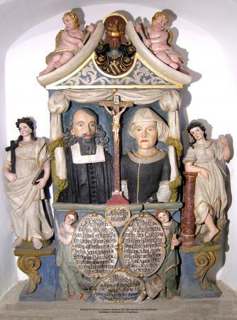 Grabstein des berühmten Erzgebirgschronisten Pfr. Christian Lehmann (1611-1688) und seiner Ehefrau Euphrosyna