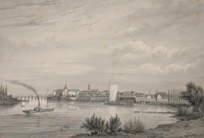 Stahlstich von Poppel und Kurz nach J. Gottheil, der die Ansicht der Festung mit der Altstadt Cüstrins von Süden her um 1850 zeigt, Repro: Fotostudio Konysz, Kostrzyn