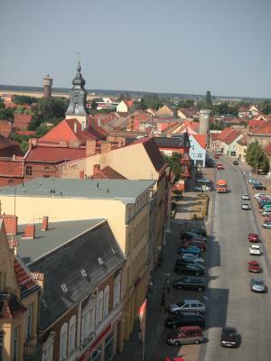 Westlicher Blick vom Rathausturm zum Vogelturm