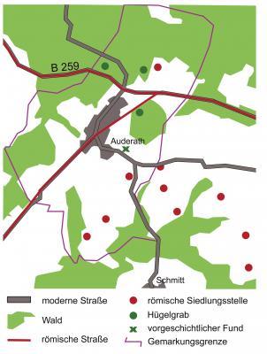 Gemarkung Auderath mit Fundstellen von Hügelgräbern und röm. Siedlungen