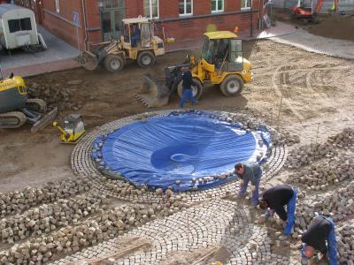 Bauarbeiten am Brunnen 07.10.2009