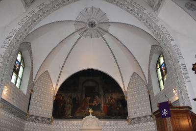 Das Bild über dem Altar der Jahnsbacher Kirche