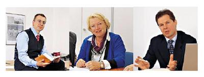 v.l.n.r: Martin Fürsattel Dipl.-Kfm. Steuerberater, Ursula Fürsattel Steuerberater, Paul-Wenzel Tosner Dipl.-Kfm. (FH) Steuerberater