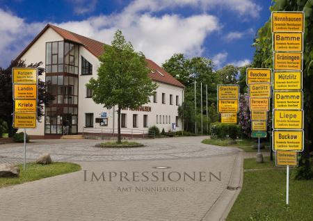 Ortseingangsschilder des Amtsbereichs Nennhausen