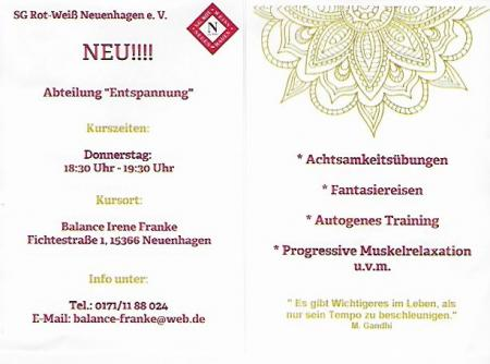 Flyer Entspannung