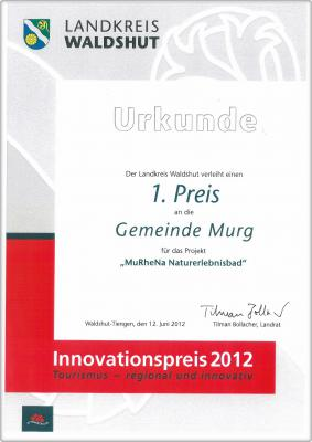 Urkunde Innovationspreis 2012