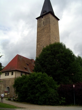 Blick auf die Wasserburg mit dem höchsten Bergfried Deutschlands
