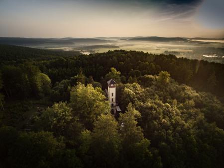 Blick auf die Baumgrenze mit der Prinz Friedrich-August Baude Foto: Martin Warmuth