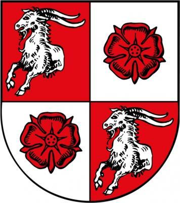 Blasonierung: Geviert, 1 und 4 in Rot ein halber silberner Bock, 2 und 3 in Silber eine rote Rose.