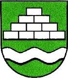 Über einem silbernen Wellenbank ein silberner Steinbruch im grünen Wappenschild.