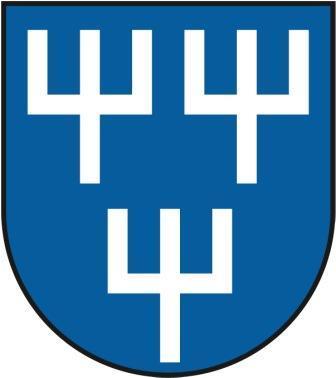 Blasonierung: In Blau drei silberne Pfähle belegt mit nach oben abgewinkelten Mittelkreuzbalken (2:1).