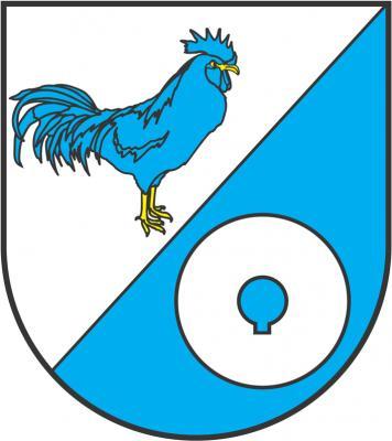 Blasonierung: Schräggeteilt von Silber über Blau, oben ein linksgewendeter stehender blauer Hahn mit goldener Bewehrung, unten ein silberner Mühlstein.