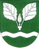 Wappenbeschreibung: In Grün über silbernem Wellenbalken ein silberner dreiblättriger Pappelzweig.