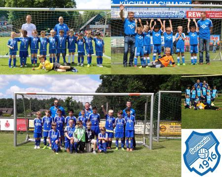 oben links: U8: F2-Jugend, U9: F1-Jugend, unten von links: U12: D-Jugend, U11: E-Jugend