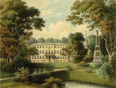 Blick von Süden auf Herrenhaus, Kirche und Friedrichsdenkmal. 1863/64