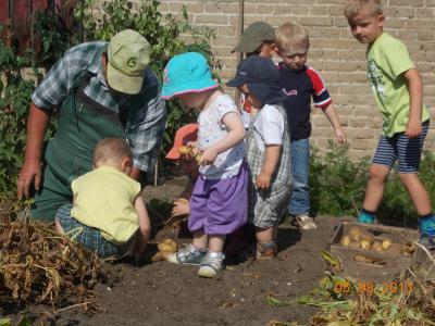 7 Kinder helfen einem Erwachsenem bei der Gartenarbeit