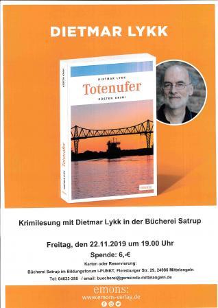 Krimilesung mit Dietmar Lykk am 22.11.2019 um 19.00 Uhr