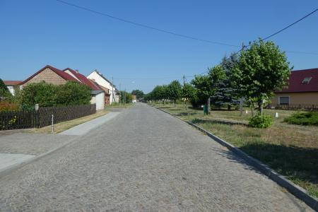 Dorfstraße mit Linden