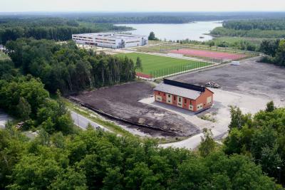 Blick auf das Vereinshaus der Stadt Schwarzheide (Foto: 3D-Luftbildservice)