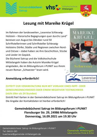 Lesung mit Mareike Krügel am 16.09. - Näheres siehe unter Nachrichten!