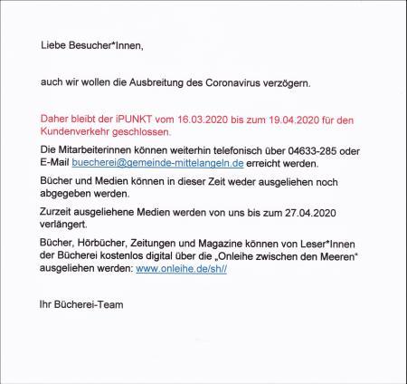 Anmeldung unter 04633-9687238 oder Bildung@gemeinde-mittelangeln.de