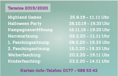 Veranstaltungen Kampagne 2019/2020