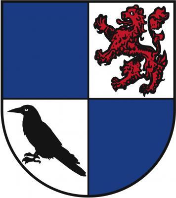 Blasonierung: Geviert von Blau und Silber, 2 ein steigender roter Löwe mit ausgeschlagener Zunge, 3 eine schwarze Krähe. Bedeutung: Die Wappensymbole in dem hier dargestellten Wappen gründen sich auf das Wappen des im 15. Jahrhundert erloschenen Gesc