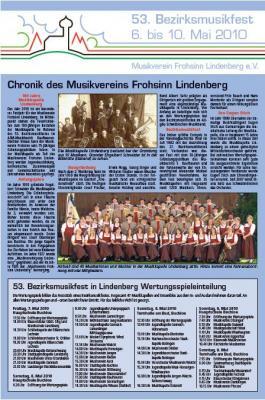 Zeitungsbericht zum 53. Bezirksmusikfest