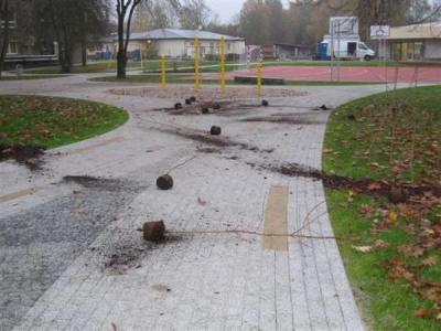 Foto zur Meldung: Vandalismus auf neuem Klosterfelder Schulhof
