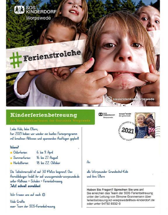 Anmeldung zur Kinderferienbetreuung