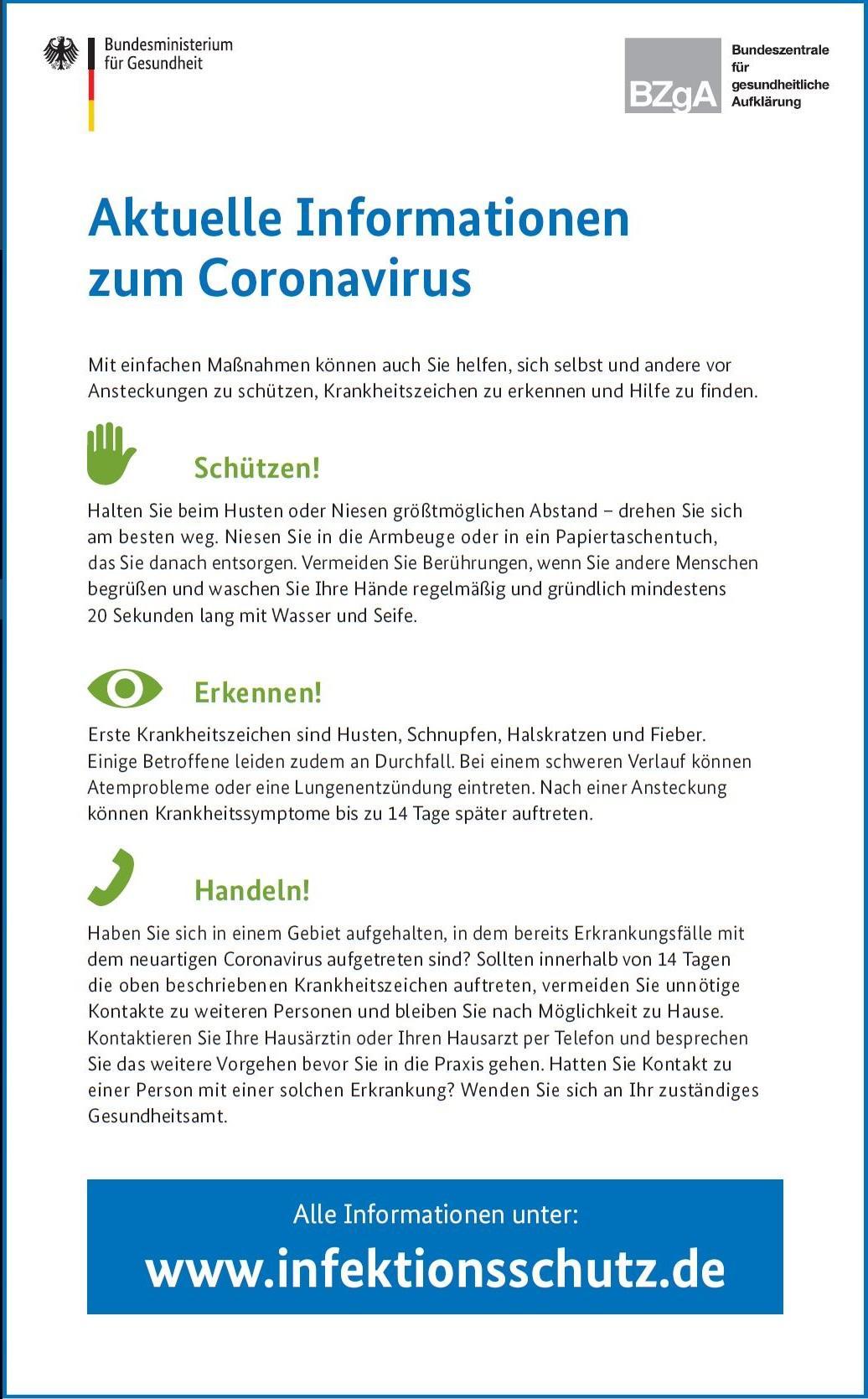 Maßnahmen und Verhalten bei Infektion
