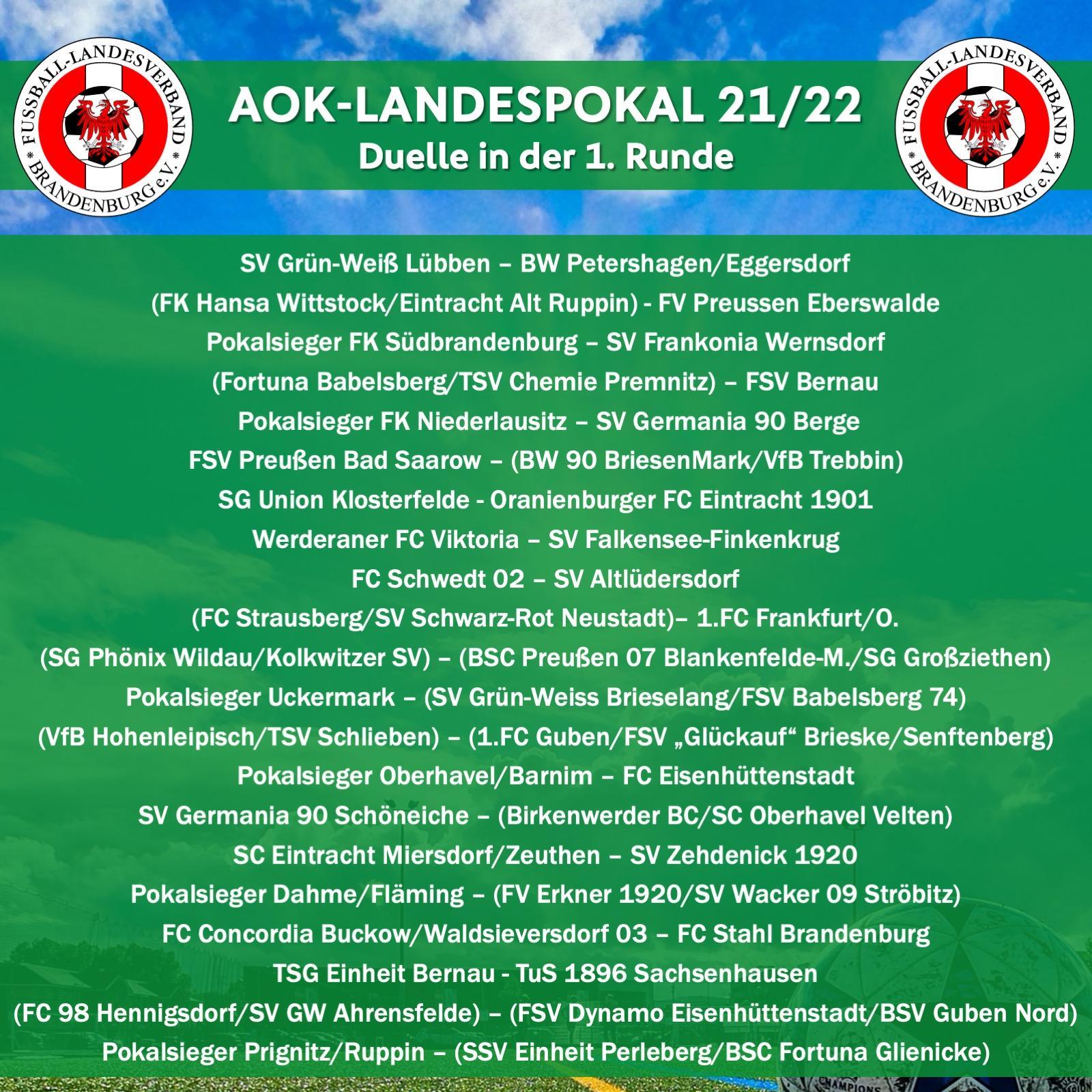 1.Runde im AOK-Landespokal 2021/22