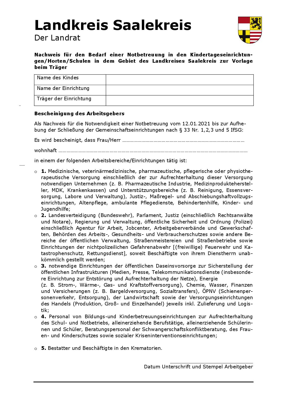 Nachweis zur Kinderbetreuung ab 12.01.2021 - 001