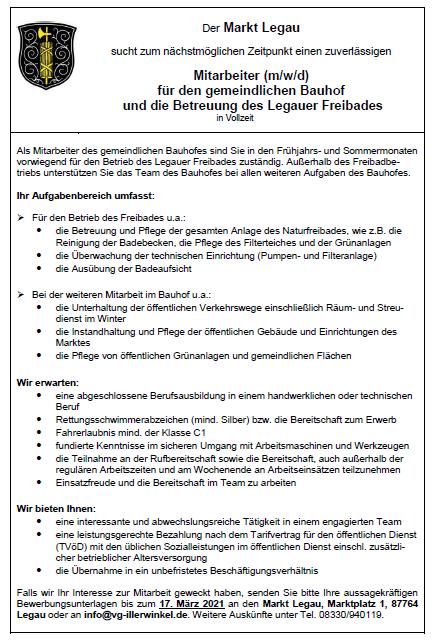 Stellenanzeige MItarbeiter Bauhof/Freibad